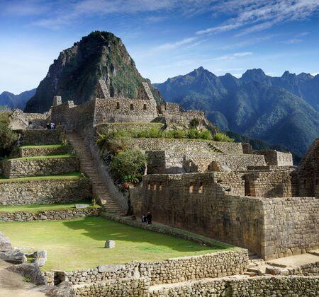 steps and staircases: Staircase of Machu Picchu, Cusco Region, Urubamba Province, Machupicchu District, Peru Stock Photo