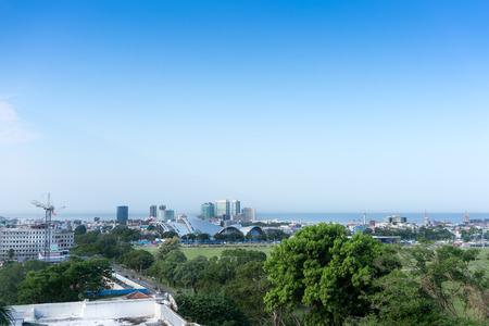 Skyline in de stad aan de kust, Trinidad, Trinidad en Tobago Stockfoto