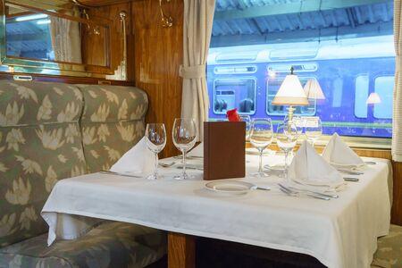 cusco province: Dining table in first class train car, Machu Picchu, Cusco Region, Urubamba Province, Machupicchu District, Peru