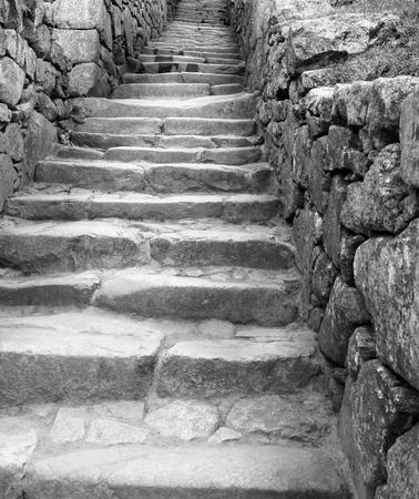 steps and staircases: Low angle view of staircase Inca ruins of Machu Picchu, Cusco Region, Urubamba Province, Machupicchu District, Peru