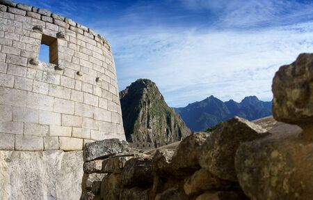 cusco region: Sun temple with mountains in the background, Machu Picchu, Cusco Region, Urubamba Province, Machupicchu District, Peru