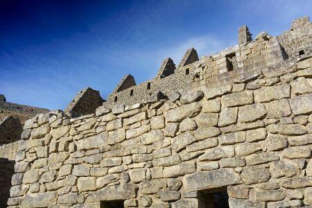 cusco province: Low angle view of stone wall, Machu Picchu, Cusco Region, Urubamba Province, Machupicchu District, Peru