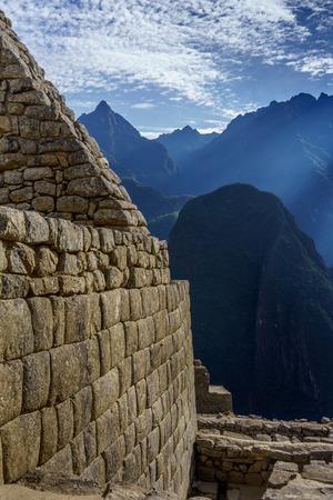 cusco province: Stone wall with mountains in the background, Machu Picchu, Cusco Region, Urubamba Province, Machupicchu District, Peru