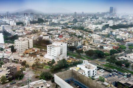 都市の景観、リマ、ペルーの空撮