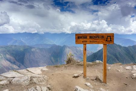 cusco province: Montana Machu Picchu sign at roadside, Machu Picchu, Cusco Region, Urubamba Province, Machupicchu District, Peru Stock Photo