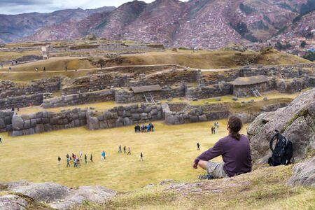peru: View of Sacsayhuaman ruins and Cusco city, Cusco, Peru Stock Photo