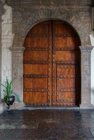 la compania: Door of La Compania church, Cusco, Peru Stock Photo