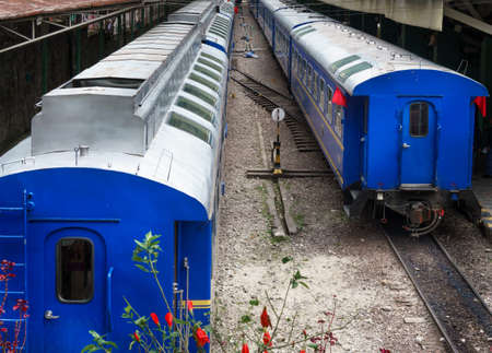 cusco province: Trains at railway station platform, Machu Picchu, Cusco Region, Urubamba Province, Machupicchu District, Peru Editorial
