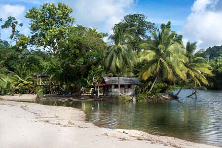Scenic view of beach with palm trees and tourist resort, Trinidad, Trinidad and Tobago