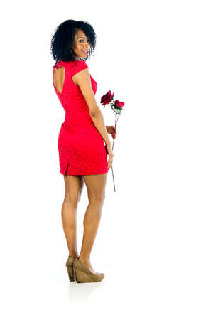Plein 배경에 매력적인 여자 흥미로운 식과 극적인 조명으로 부드러운 불빛과 함께 스튜디오에서 촬영 스톡 콘텐츠 - 57358653