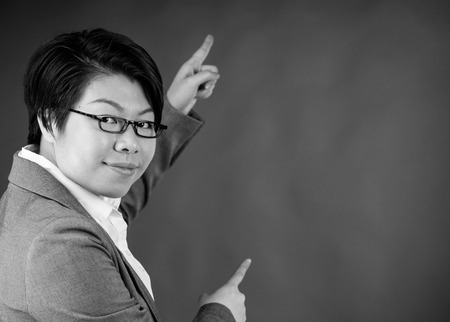 attractive woman on plein background shot in studio with soft lights with an interesting expression and dramatic lighting Black And White, b&w 스톡 콘텐츠