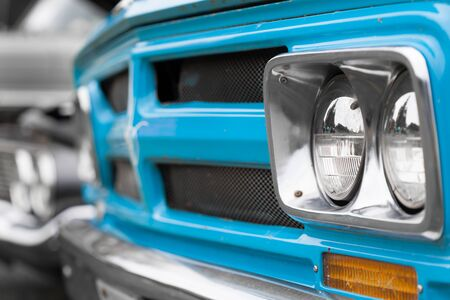 Antique, Blue, Bumper, Car, Chrome, Circle, Close-up, Collectors Car, Colour Image, Day, Differential Focus, Elegance, Headlight, Horizontal, Lighting Equipment, Luxury, Metal, Mode Of Transport, Motor Vehicle, No People, Nostalgia, Old, Old-fashioned, O Stock Photo