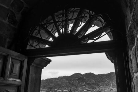 la compania: Arch, Architecture, Black And White, Built Structure, Cathedral, Catholicism, Christianity, Church, City, Cityscape, Cusco City, Day, Design, Famous Place, History, Horizontal, La Compania, Metal, Mountain, Mountain Range, No People, Outdoors, Peru, Photo Stock Photo