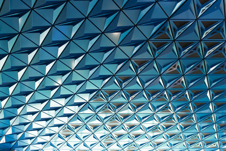 colour image: Architectural Feature, Architecture, Backgrounds, Blue, Building Exterior, Built Structure, Business, Colour Image, Corner, Corporate Business, Design, Full Frame, Geometric, Horizontal, Modern, No People, Office Block Exterior, Office Building, Outdoors,