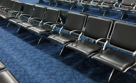 Photography, Indoors, No People, Absence, Chair, Large Group Of Objects, Waiting Room, In A Row, Alley, Repetition, Seat, Colour Image, Horizontal, Empty, Flooring, Metal, Black, Simplicity, Airport, Airport Departure Area, Travel, Order, Conformity, Arra