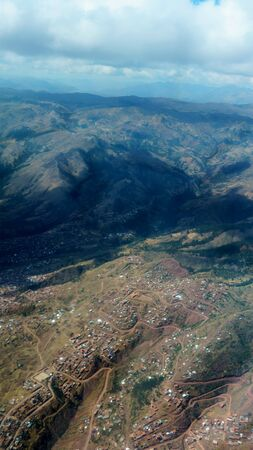 colour image: Aerial View, South America, Beauty In Nature, Cloud - Sky, Colour Image, Day, Distant, Dramatic Landscape, Geology, Landscape, Mountain, Mountain Range, Mountain Road, Nature, No People, Non-urban Scene, Outdoors, Peru, Photography, Physical Geography, Re