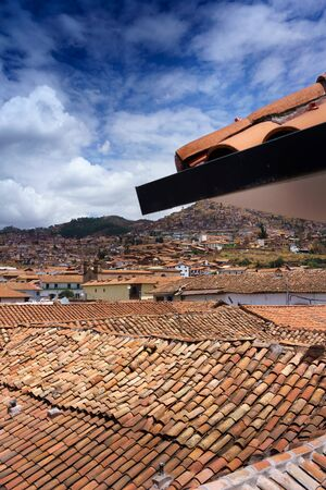Architecture, Building Exterior, Built Structure, City, Cityscape, Cloud - Sky, Colour Image, Crowded, Cusco City, Day, House, Mountain, No People, Outdoors, Peru, Photography, Peruvian Culture, Residential Building, Residential District, Residential Stru Stock Photo