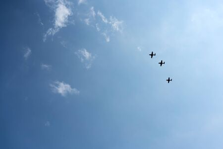 coordinacion: Acrobatic Activity, Aerobatics, Aeroplane, Aerospace Industry, Air Force, Air Vehicle, Airplane, Airshow, Blue, Cloud - Sky, Cloudscape, Colour Image, Cooperation, Co-ordination, Day, Fighter Plane, Flying, Formation Flying, Horizontal, Low Angle View, Mi