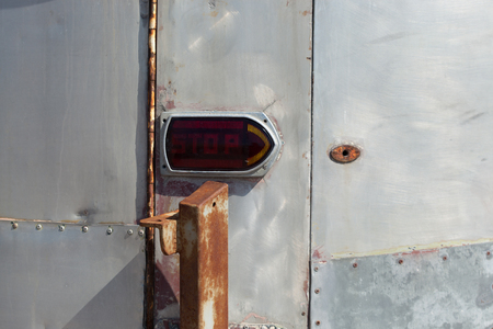 Vehicle Part, No People, Outdoors, Day, Front View, Photography, Horizontal, Red Light, Stop Light, Stop - Single Word, Text, Communication, Western Script, Van, Colour Image, Stationary, Full Frame, Transportation, Close-up, Lighting Equipment, Metal, Mo
