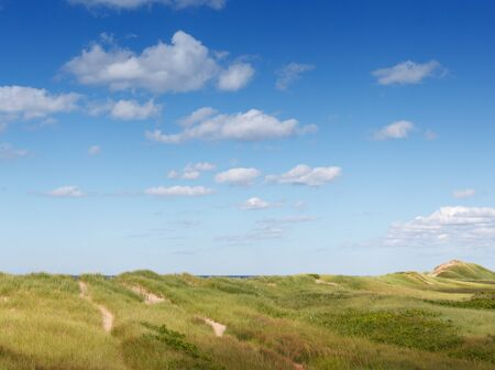 grass area: Grass, Green, Coastal Feature, Cloud - Sky, Grass Area, Colour Image, Photography, Day, Outdoors, Nature, Scenics, Non-urban Scene, Tranquillity, Tranquil Scene, Prince Edward Island, Canada, Travel Destinations, Travel, No People, Horizontal, Sky, Landsc
