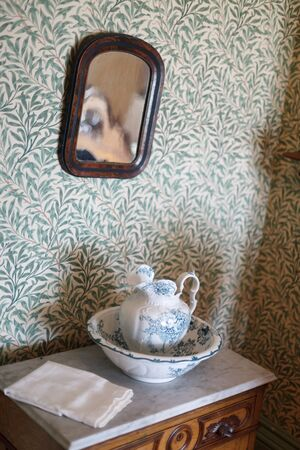 feature wall: Beaconsfield Historic House, History, Charlottetown, The Past, Antique, Memories, Napkin, Decoration, Mirror, Wallpaper, Photography, Indoors, No People, Colour Image, Vertical, Wall - Building Feature, Teapot, Pottery, Art And Craft, Ceramic, Craft Produ