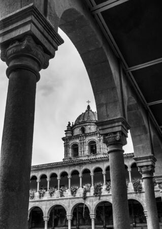 la compania: Arch, Architectural Column, Architecture, Black And White, Building Exterior, Built Structure, Cathedral, Catholicism, Christianity, Church, Cloud - Sky, Colonnade, Cross, Cusco City, Day, Decoration, Flower, History, La Compania, Low Angle View, No Peopl