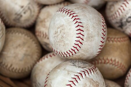 medium group of people: Baseball - Ball, Ball, Sport, White, Dirty, Medium Group Of Objects, Colour Image, Photography, Red, Stitching, Baseball - Sport, Group Of Objects, Thread, Differential Focus, Full Frame, Close-up, Still Life, No People, Horizontal, Messy, Old, Flea Marke