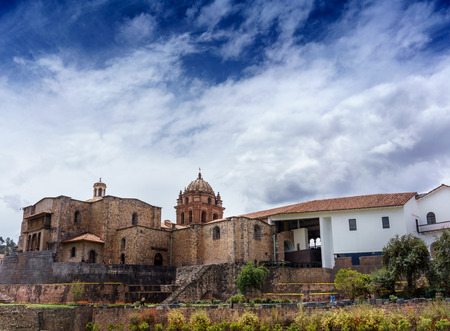 cu: Architecture, Building Exterior, Built Structure, Cathedral, Catholicism, Christianity, Church, Cloud - Sky, Colour Image, Cusco City, Day, Famous Place, History, Horizontal, La Compania, Low Angle View, No People, Outdoors, Peru, Photography, Peruvian Cu Stock Photo