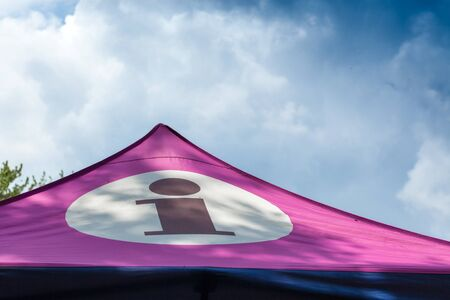 part of me: Sunlight, Pink, High Section, Tent, Shape, Cloud - Sky, Sky, No People, Outdoors, Day, Horizontal, Circle, Letter I, Text, Communication, Western Script, Cone, Protection, White, Information Sign, Part Of, Sign, Camping, Colour Image, Photography, Flag