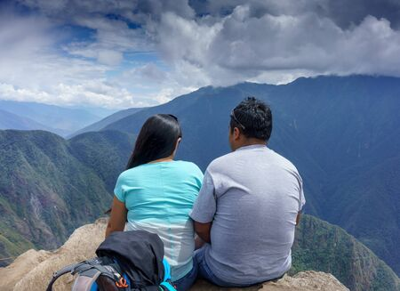 Getting Away From It All, Watching, Tourist, Casual Clothing, Looking At View, Lifestyles, Leisure Activity, Carefree, At The Edge Of, Unrecognisable Person, Scenics, Tourism, Mt Huayna Picchu, Cusco Region, Urubamba Province, Aguas Calientes - Machupicch