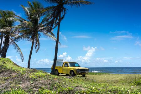 Beach, Beauty In Nature, Blue, Car, Coastal Feature, Colour Image, Day, Horizon Over Water, Horizontal, Island, Majestic, Mode Of Transport, Motor Vehicle, Nature, No People, Non-urban Scene, Outdoors, Palm Tree, Photography, Pick Up Truck, Sea, Sky, Summ