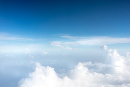 colour image: Colour Image, Horizontal, Photography, Day, Outdoors, No People, Sky, Cloud - Sky, Cloudscape, Above, Blue, Aerial View, White, Awe, Atmospheric Mood, Fluffy, Heaven, Backgrounds, Scenics, Softness, Ethereal, Beauty In Nature, Environment, Idyllic, Majest Stock Photo
