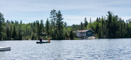contryside: contryside ontario canada nature father and son canoe fishing
