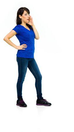 model isolated white background talking voice shouting