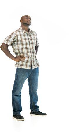 흑인 남자 모델 격리 된 흰색 배경