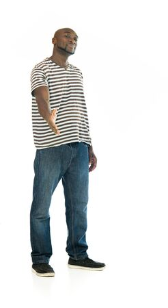 model isolated white background hand shake welcoming