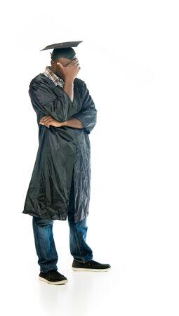avergonzado: model isolated white background hiding shame ashamed Foto de archivo
