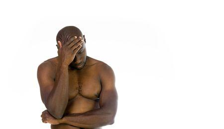 shame: model isolated white background hiding shame ashamed Stock Photo