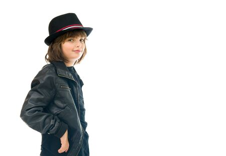 roll out: male kid child model isolated white background