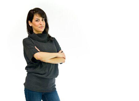 여성 여성 모델 격리 된 흰색 배경 스톡 콘텐츠