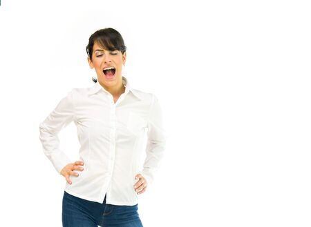 loud: model isolated white background scream loud angry