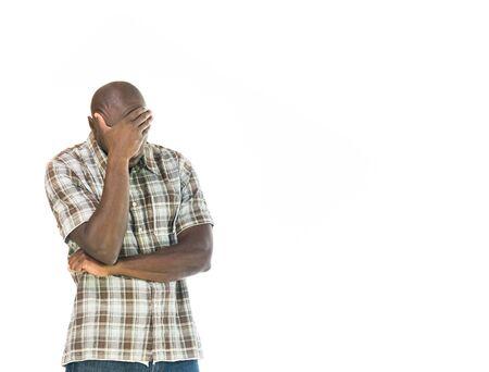 ashamed: model isolated white background hiding shame ashamed Stock Photo