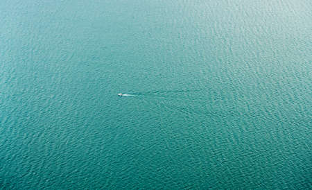 Aerial view of seascape with boat in middle of lake. aerial picture from ontario canada 2016