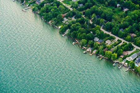 suburbia: Houses in residential suburbs by the lake, Toronto, Ontario, Canada. aerial picture from ontario canada 2016 Stock Photo