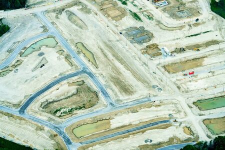 High angle view of construction site, at day, Toronto, Ontario, Canada. aerial picture from ontario canada 2016