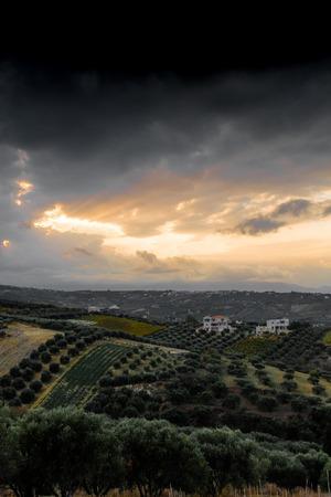 Scenic landscape during sunset, Archanes, Crete, Greece Imagens