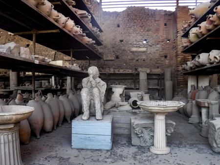 Excavations and man victim of ancient city Pompeii; Italy