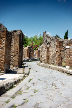 Ruined structure of ancient city; Pompeii; Italy