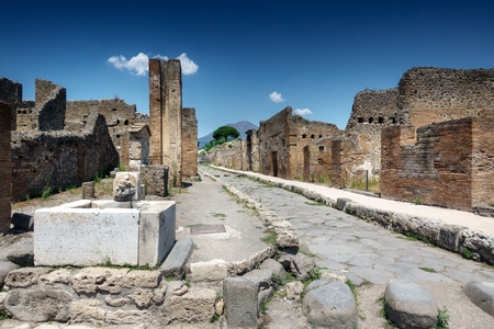 Old ruins of ancient city; Pompeii; Italy Stock Photo