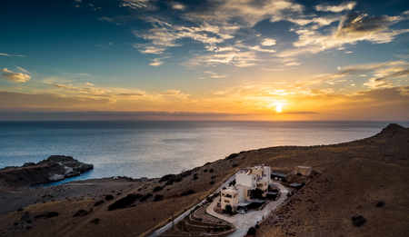 Scenic view of sea and coastline during sunset; Crete; Greece Imagens